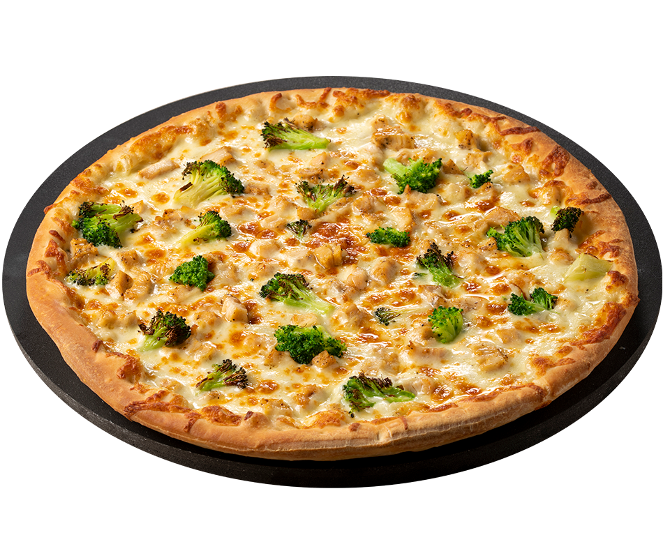 Chicken Broccoli Alfredo Pizza