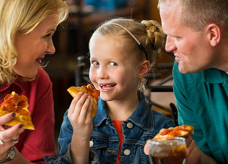 Family eating together at Pizza Ranch