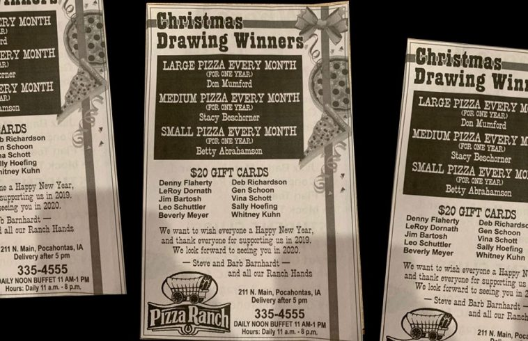 Wednesday Story of Impact - Free Pizza for Pocahontas Pizza Ranch Guests
