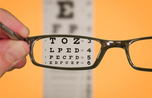 Eye Chart viewed though glasses